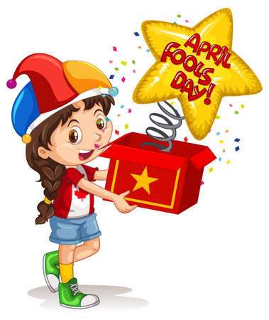 A girl wearing jester hat holding surprise box with April's fool day font illustration Ilustración de vector