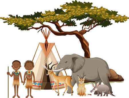 African tribe with group of wild african animal on white background illustration