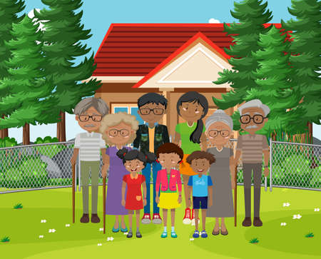 Member of family at home outdoor scene illustration