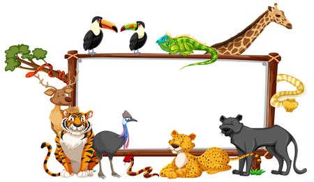 Empty banner with wild animals on white background illustration