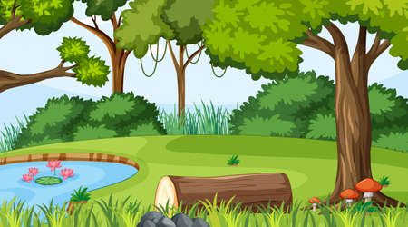 Forest landscape scene at day time with pond and many trees illustration