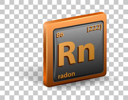 Radon chemical element. Chemical symbol with atomic number and atomic mass. illustration