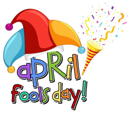 April Fool's Day font with Jester hat illustration