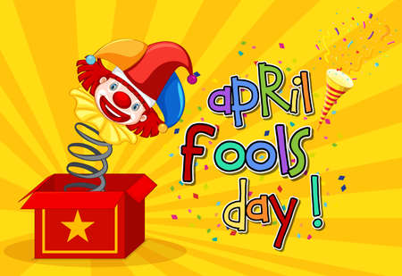 April Fool's Day font with Jester from surprise box on yellow background illustration