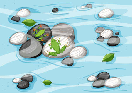 Top view of river scene with frogs illustration