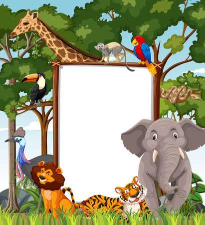 Blank banner in the rainforest scene with wild animals illustration