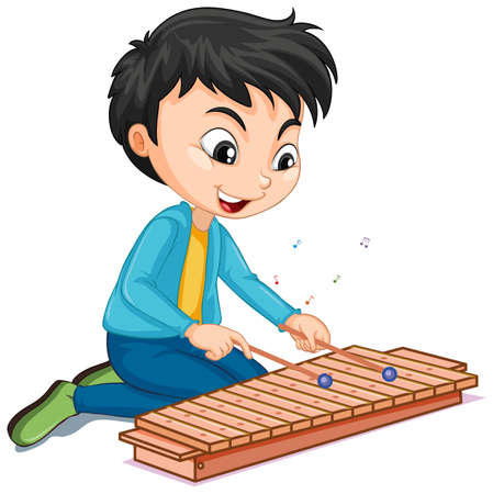 Character of a boy playing xylophone on white background illustration