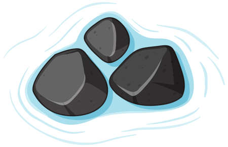 Group of black stones on water on white background illustration Ilustración de vector