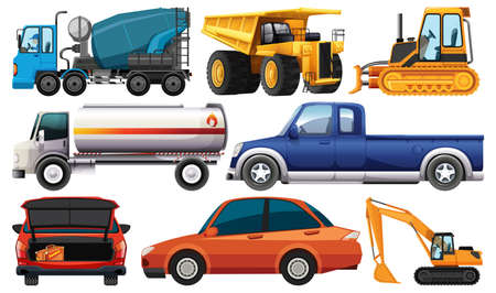 Set of different kind of cars and trucks isolated on white background illustration