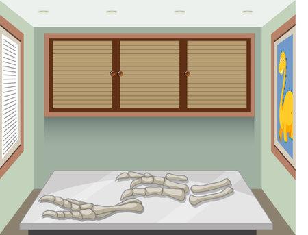 Fossil of extinct dinosaur in the room illustration Vector Illustratie