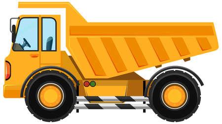 Heavy dump truck in cartoon style on white background illustration