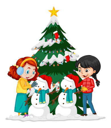 Two girl creating snowman in christmas day illustration