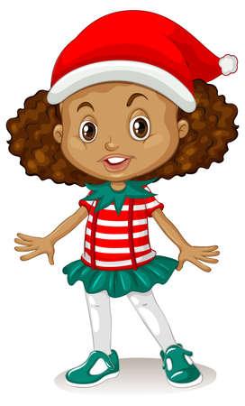 Cute girl wearing Christmas costumes cartoon character illustration