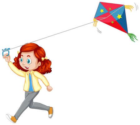 Girl playing kite isolated on white background illustration Vector Illustration