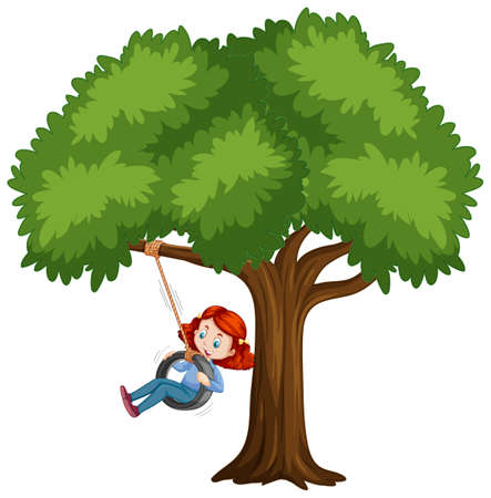 Kid playing tire swing under the tree on white background illustration