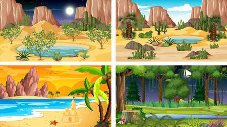 Four different nature horizontal scenes illustration
