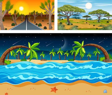 Three different nature landscape scenes illustration