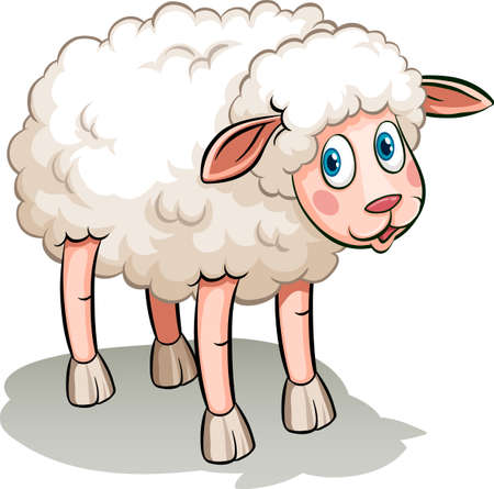 A Cute sheep in cartoon style isolated illustration Vetores