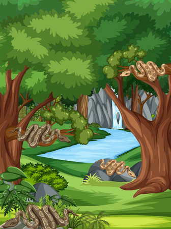 Nature scene with stream flowing through the forest with many snakes illustration