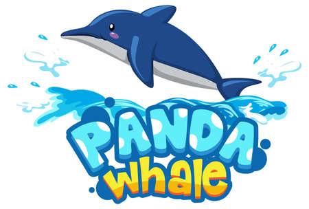 Dolphin cartoon character with Panda Whale font banner isolated illustration Vektorové ilustrace