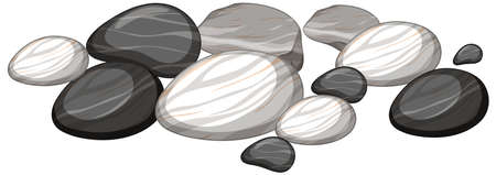 Group of stones on white background illustration Ilustración de vector