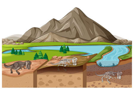 Nature landscape scene at daytime with dinosaur fossils in soil layers illustration Vettoriali