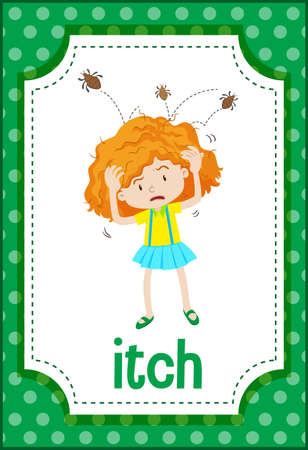 Vocabulary flashcard with word Itch illustration