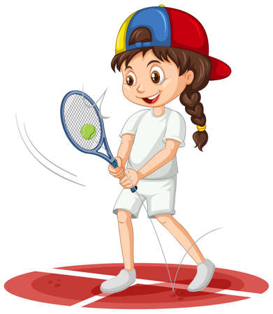 Cute girl playing tennis cartoon character isolated illustration