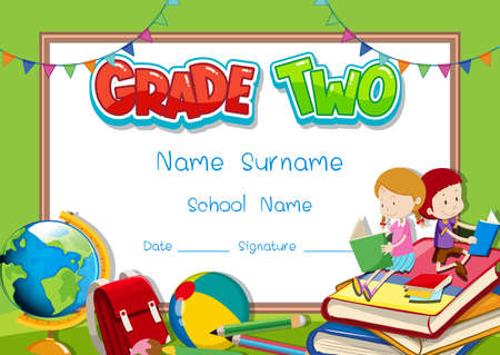 Grade two diploma or certificate template illustration