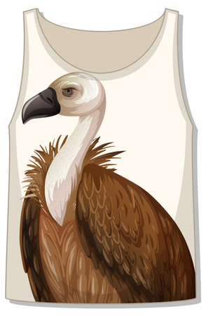 Front of tank top with vulture template illustration