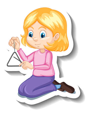 Cartoon character sticker girl playing triangle musical instrument illustration