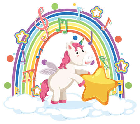 Unicorn standing on cloud with rainbow and melody symbol illustration