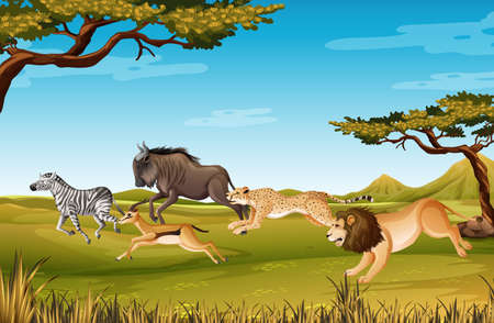 Group of Wild African Animal in the forest scene illustration Иллюстрация