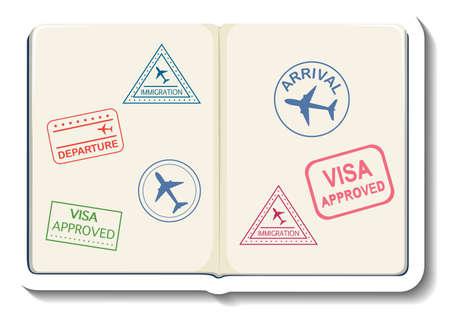 Opened passport with visa stamp cartoon sticker illustration