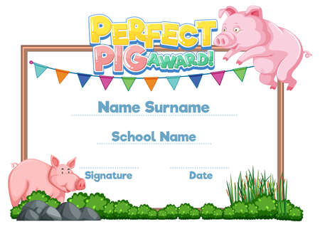 Diploma or certificate template for school kids illustration