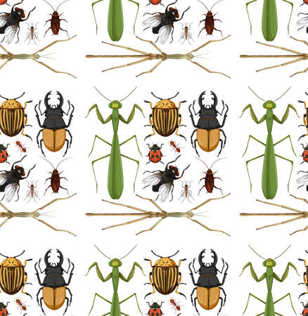 Seamless pattern with many insects on white background illustration