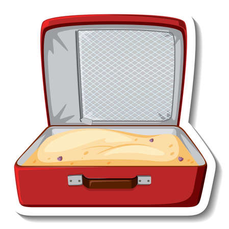 Leather suitcase opened with sand cartoon sticker  illustration Иллюстрация