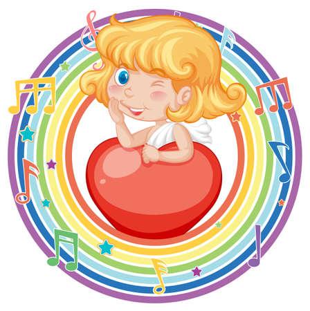 Cupid girl in rainbow round frame with melody symbol illustration Иллюстрация
