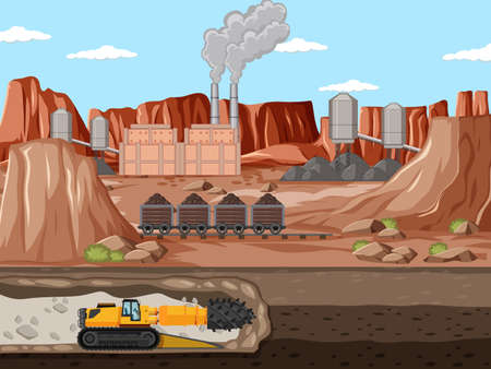 Landscape of coal mine industry with underground illustration Иллюстрация