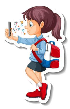 A student girl using smart phone cartoon character sticker illustration