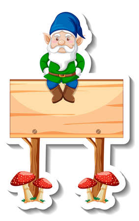 A sticker template with garden gnome sitting on blank wooden banner illustration
