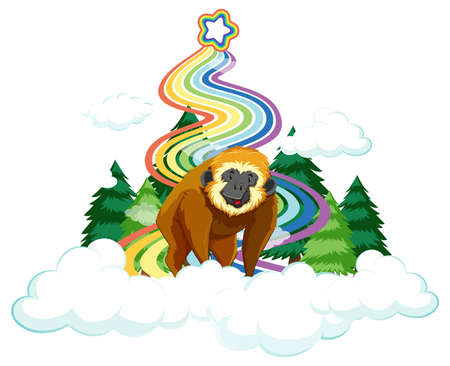 A gibbon on the cloud with rainbow on white background illustration