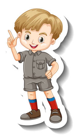 A sticker template with a boy in safari outfit cartoon character illustration Иллюстрация