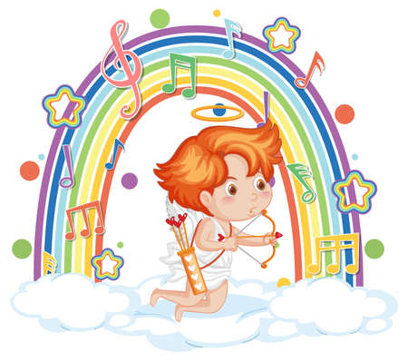 Cupid boy on the cloud with melody symbols on rainbow  illustration