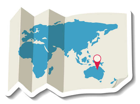 Folded paper world map with red pin illustration