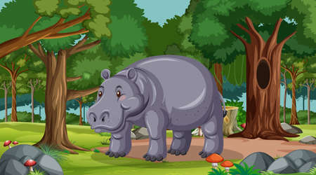 Hippopotamus in forest at daytime scene with many trees illustration
