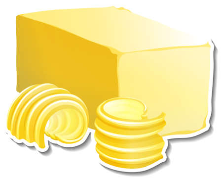 Bar of butter with butter slice sticker on white background illustration