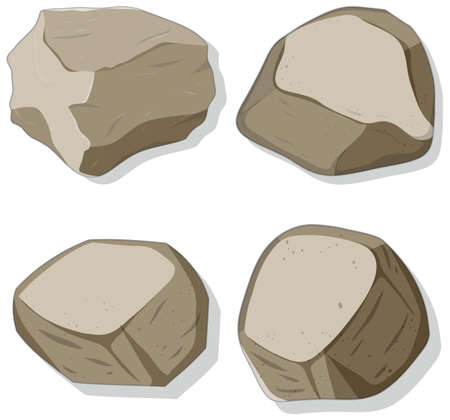 Set of different stones shapes isolated on white background illustration