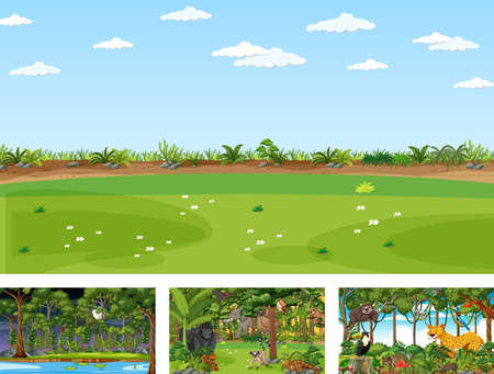 Set of different nature horizontal scene with various wild animals illustration Иллюстрация