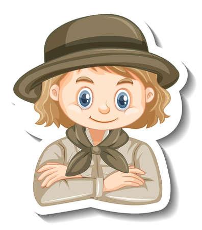 Girl in safari outfit cartoon character sticker illustration Иллюстрация